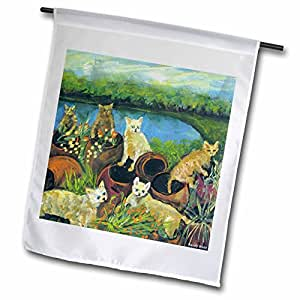 3dRose fl_66320_1 The Gardeners, Kittens Dig Up Colorful Flower Pots, Water View Garden Flag, 12 by 18-Inch