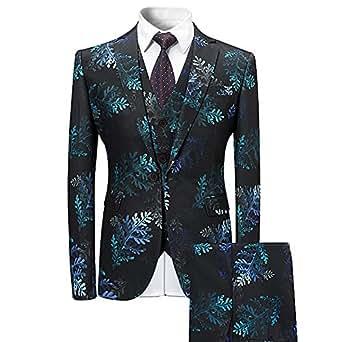 YFFUSHI Mens Slim Fit Floral 3 Piece Suit Single Button Blazer Tux Vest & Trousers
