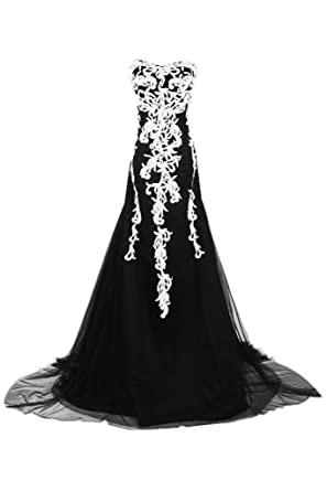 Sunvary Retro Sweetheart White Appliques Evening Dress Long Party Prom Gowns: Amazon.co.uk: Clothing