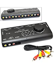 iKKEGOL 4 in 1 AV Audio Video Signal Switcher S-Video Selector Splitter with RCA Cable for VCD DVD Video Camera Recorder Video Game to Your TV