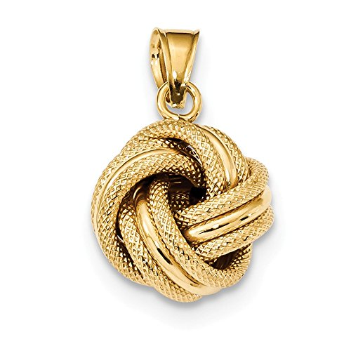 14k Yellow Gold Textured Love Knot Pendant Charm Necklace Fancy Fine Jewelry Gifts For Women For Her