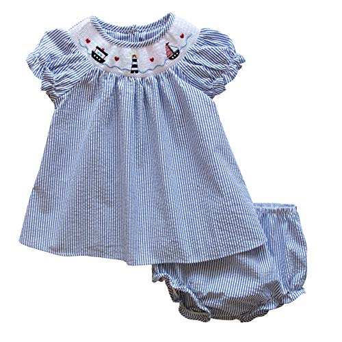 Good Lad Newborn/Infant Baby Girls Seersucker Smocked Dresses with Nautical Embroideries (6/9M, Navy) -