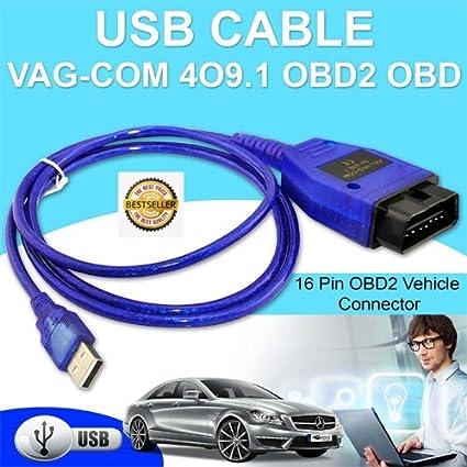 Simply Silver - VAG COM KKL 409 1 OBD2 USB VCDS Car Diagnostic Scanner  Cable Computer PC Laptop