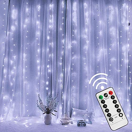 Twinkle Star 300 LED Window Curtain String Light with Remote Control Timer for Christmas Wedding Party Home Garden Bedroom Outdoor Indoor Decoration, White from Twinkle Star