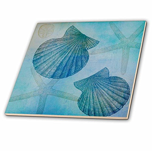 3dRose ct_79341_1 Aqua Shells and Starfish Beach Themed Art-Ceramic Tile, 4-Inch by 3dRose