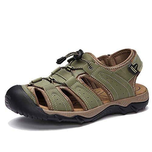 Closed Men's Toe Leather Sandals Hiking Green Beach AGOWOO 5qOd4w7aq
