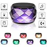 LED Bluetooth Speaker,LFS Night Light Wireless Speaker, Diamond Shape Portable Wireless Bluetooth Speaker,Multi-Colored auto-Changing RGB LED Themes,Handsfree/Phone/PC/Micro SD/AUX-in/TWS Supported