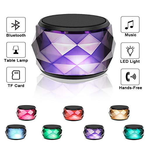 LED Bluetooth Speaker,LFS Night Light Wireless Speaker, Diamond Shape Portable Wireless Bluetooth Speaker,Multi-Colored auto-Changing RGB LED Themes,Handsfree/Phone/ PC/Micro SD/AUX-in/TWS Supported