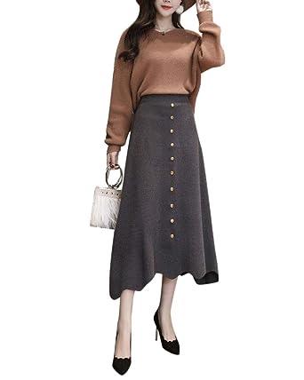 Mujer Vintage Elegante Caliente Larga Falda De Punto Falda A-Line ...