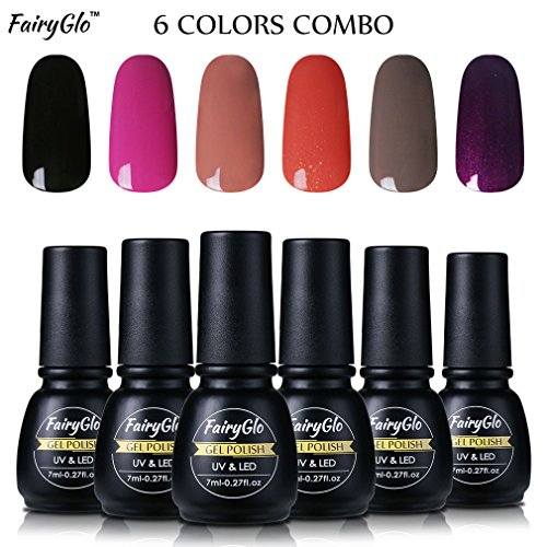 Nail Polish UV LED Soak Off Nail Art Gel Manicure Gift Set 6PCS FairyGlo 7ml 00018]()