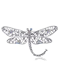 Alilang Silvery Tone Iridescent Clear Colored Rhinestone Dragonfly Insect Brooch Pin