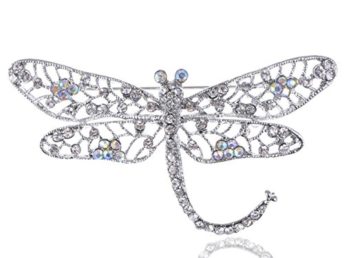 [Alilang Antique Inspired Clear Aurora Borealis Crystal Rhinestone Dragonfly Brooch Pin] (Fly Costumes)