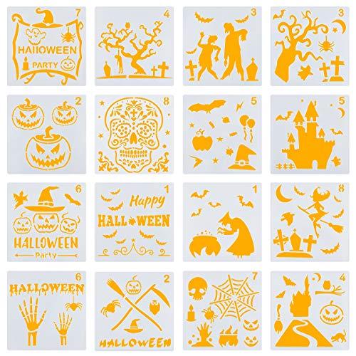 Halloween Spider Web Stencil (Biubee 16pcs Halloween Stencils Set- Plastic DIY Decorative Drawing Stencil Templates Bat Owl Old Castle Spider Web Witch Grave Skeleton Pumpkin Hat for Halloween Decoration Craft Journaling)