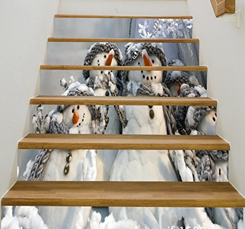 (zhiyu&art decor 6pcs/Set Christmas Snowman Gifts Tile Stair Risers Stickers Set-Staircase Decals Removable Waterproof Mural Wallpaper for Christmas Decoration (Snowman 1))