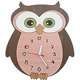 Bronzehouse Owl Wall Clock Silent & Non-Ticking Quartz Movement Decorative Natural Wood Clock