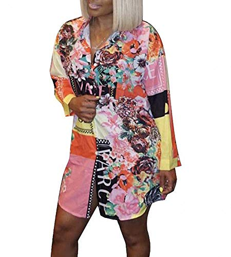 Remelon Womens Flowers Letter Print Button Down Collar Long Shirt Dress Blouse Mini Dress Orange S