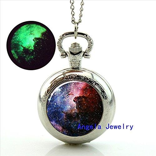 Pretty Lee Fashion Carina Nebula Glowing Pocket Watch Necklace Carina Nebula Jewelry Glow in the Dark Pendant