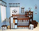 12 Pcs MAX Trend Lab Blue & Brown Stripes and Polka Dots Crib Bedding Set Nursery Ensemble Complete