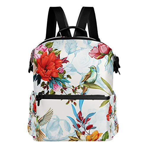 TARTINY Seamless Floral Pattern Poppy Wild Blossom Laptop Backpack Leather Strap School Bag Outdoor Travel Casual Daypack