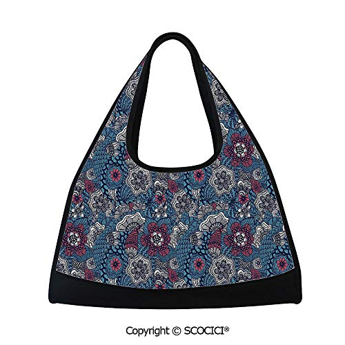 Badminton bag,Fragrance Petals Classic Blooms Shabby Chic Spring Design,Multi Functional Bag (18.5x6.7x20 in) Hot Pink Sky Blue Indigo