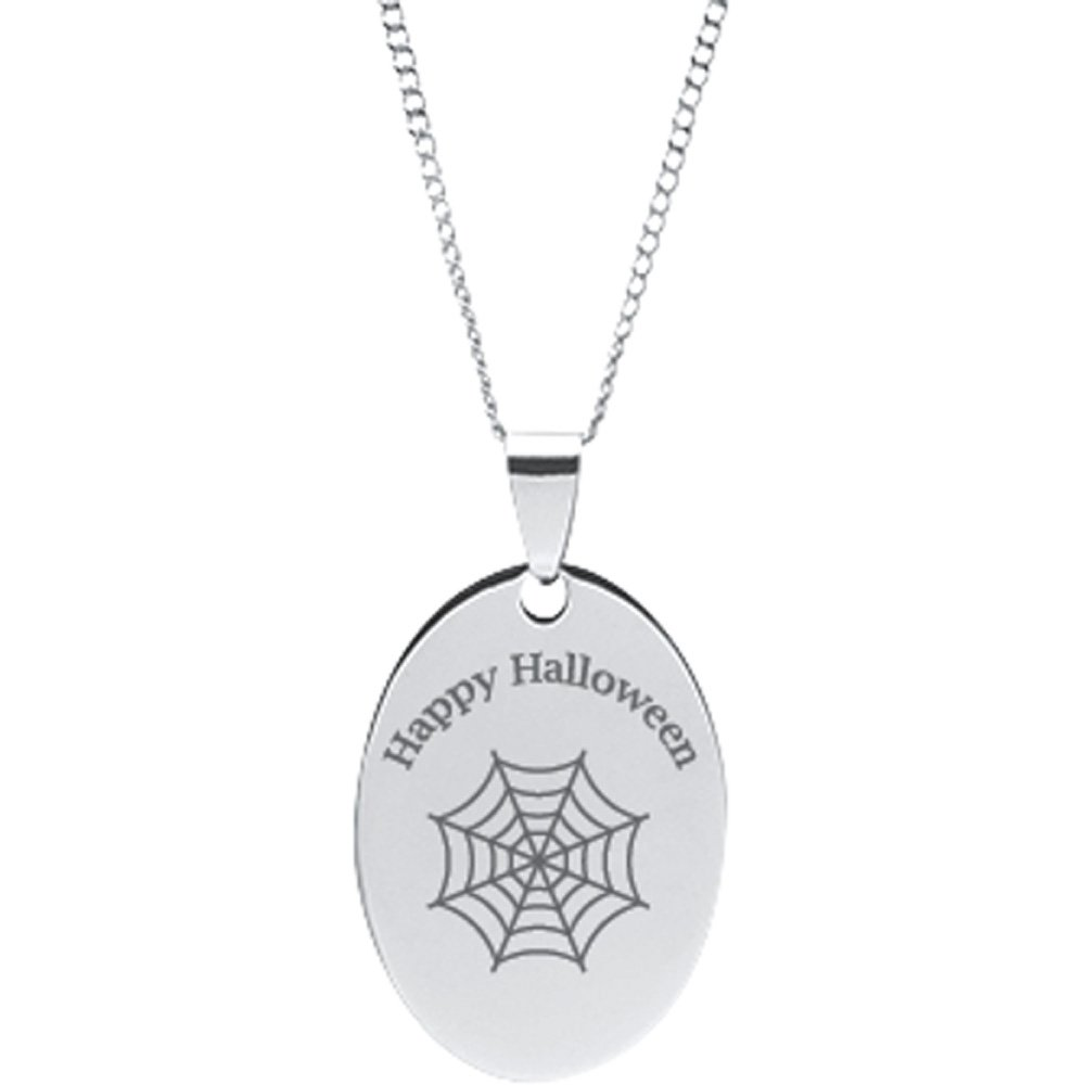 DMD Collection Stainless Steel Engravable Spider Web Halloween Pendant on 18 Chain