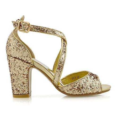 ESSEX GLAM Women's Sparkly Strappy Low Block Heel Gold Glitter Party Sandals 10 B(M) US