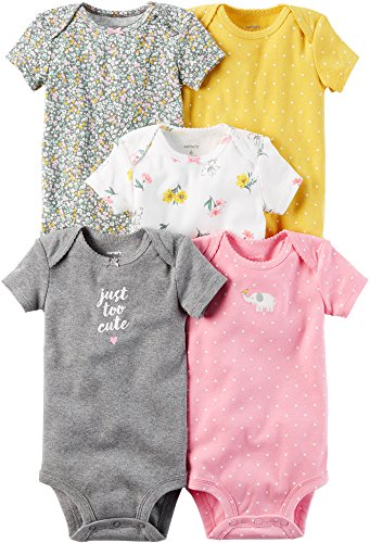 Carter's Baby Girls' 5-Pack Bodysuits 12 Months