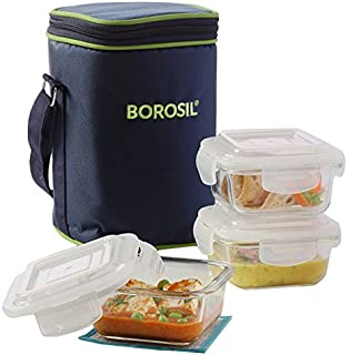 borosil klip n store containers with lunch bag 320ml set of 3