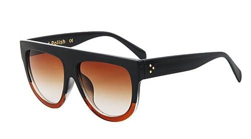 012ec1e8dc GAMT Vintage Top Flat Full Rimmed Plastic Cateye Sunglasses Black-tea