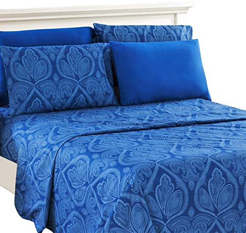 Lux Decor Collection Bed Sheet Set - Brushed Microfiber 1800 Bedding - Wrinkle, Stain and Fade Resistant - Hypoallergenic - 6 Piece (Queen, Paisley Navy Blue) (Moroccan Bed Sets)