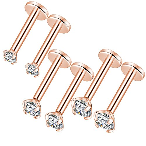 GAGABODY 16g Rose Gold 316L Stainless Steel Labret Monroe Lip Stud Cartilage Helix Earring Inlaid with Sparkle ()