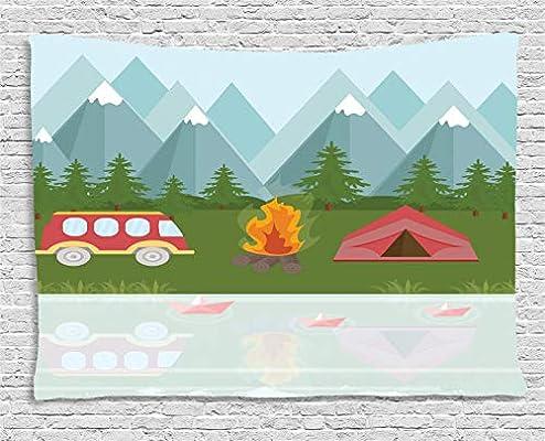 ABAKUHAUS Camper Tapiz de Pared, Tienda De Campaña Caravana De Dibujos Animados, para el Dormitorio Apto Lavadora y Secadora Estampado Digital, 150 x 100 cm, Multicolor: Amazon.es: Hogar