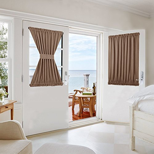 NICETOWN French Door Curtain and Drapery - Privacy Enhancing Blackout Sidelight Patio Door Curtain Panel with Adjustable Hook & Loop (1 Piece, W54 x L40-Inch, Cappuccino)