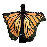 HTHJSCO Butterfly Wings Shawl/Childrens' Christmas Costume Accessory, Prop Soft Fabric Butterfly Wings Ladies Costume (Orange B)