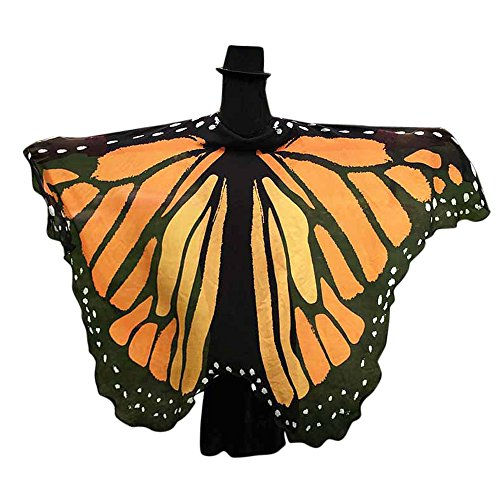 Soft Fabric Butterfly Wings Adult Shawl Fairy Ladies Nymph Pixie Costume For Women Fairy Accessory ICODOD(Orange)