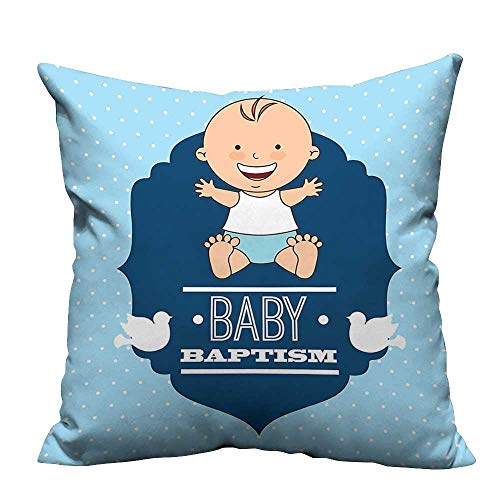 YouXianHome Super Soft Pillowcase Baptism Laughing Baby Boy Hope Belief Symbol Joy Sacramento Celebration Resists Wrinkles(Double-Sided Printing) 24x24 -
