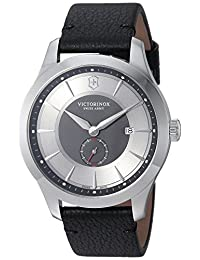 Victorinox Men's 'Alliance' Swiss Quartz Stainless Steel and Leather Casual Watch, Color:Black (Model: 241765)