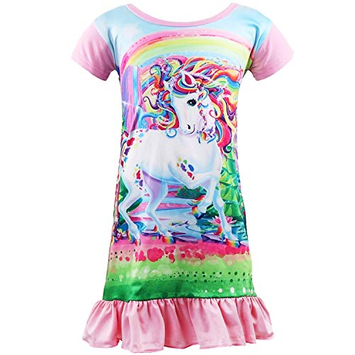 Sylfairy Unicorn Nightgown for Girls, Kids Rainbow Nightgowns Pajama Sleepwear Nightie Princess Night Dresses(Pink+Unicorn 6-7Years)