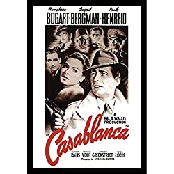 """Buyartforless Framed Casablanca Bogart Bergman Henreid Romantic Movie Poster, 36"""" X 24"""""""