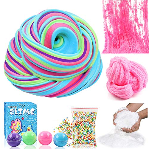 Cool Fluffy Floam Slime with Instant Snow Powder, Colorful Foam Beads, Cloud Slime Kit for Girls Boys, Easy DIY Craft Premade Bubble Slime, Cream Butter Mud Scented Putty for Kids Birthday Party Favor]()