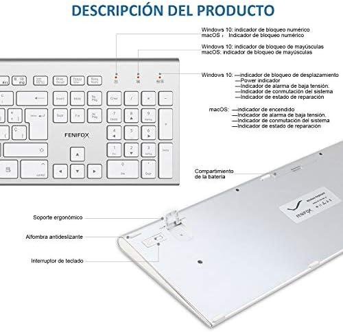 Cambiar Entre Sistemas duales(Plata FENIFOX Teclado y Raton inalambrico dise/ño ergon/ómico 2,4 G Teclado inal/ámbrico y rat/ón Combinado USB para PC de Escritorio Mac OS Windows Linux