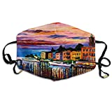 Colorful Painting Building Water Reflection House Boat Church Leonid Afremov Lake Como Bellagio Italy Fashion Adult Recycling Mouth Mask Respirators For Man And Woman