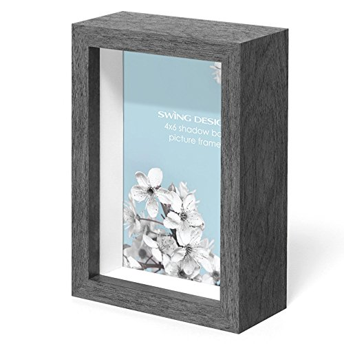 Swing Design Chroma Shadow Box Frame, 4 by 6-Inch, Charcoal Gray by Swing Design