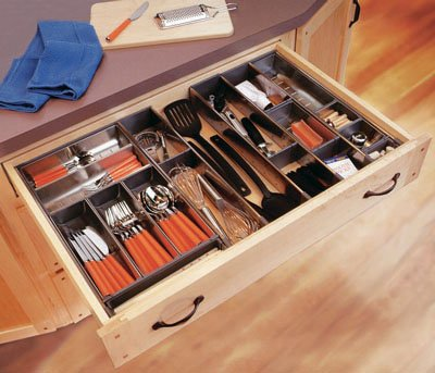 Blum Orgaline For Wood Drawers With Lengths 19 1/4'' To 20'' Cutlery Kit 15'' W Stainless Steel by Blum