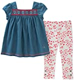 Calvin Klein Baby Girls Tunic Leggings Set, Medium Wash Blue/Print, 18M