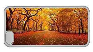 Hipster amazing iPhone 5C covers AUtumn Yellow Park PC Transparent for Apple iPhone 5C