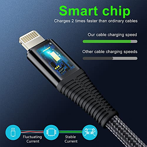iPhone charger cable ONGAHON 3Pack {3.3ft/1M 6.6ft/2M 10ft/3M} USB iPhone Charging Cable Compatible With iPhone 12/11 Pro Max XS Max X 8 7 Plus 6 6s 5c,SE 2020,iPad And More