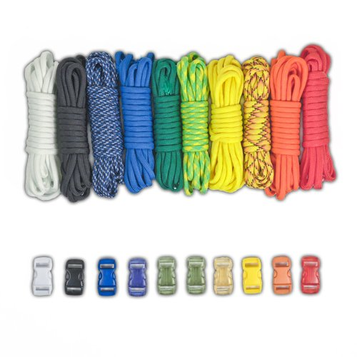 PARACORD PLANET Paracord Survival Bracelet Project Rainbow Combo Kit with 100 Feet in 10 Colors and 10 Buckles]()