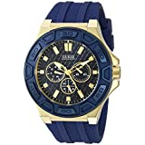 GUESS Men's U0674G2 Iconic Blue & Gold-Tone Multi-Function Watch with Comfortable Silicone Strap