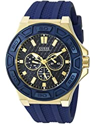 GUESS Mens U0674G2 Sporty Gold-Tone Stainless Steel Watch with Multi-function Dial and Blue Strap Buckle